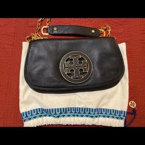Tory Burch Amanda Black Pebbled Leather Crossbody